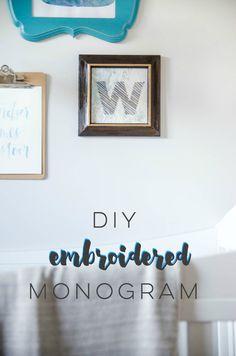 diy embroidered monogram wall art.