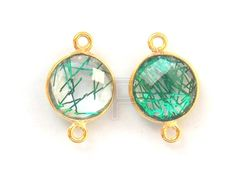 Beautiful Green Rutile Hydro 24k gold plated Handmade Connector, 11X17 mm Connector / Double Bail Bezel /Faceted Connector 10 Pcs (PJ4291PJ) by PlantofJewel on Etsy