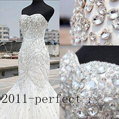 Luxury Mermaid Wedding Dresses Rhinstones Crystal Strapless Custom Bridal Gowns