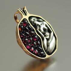 POMEGRANATE silver and bronze garnet pendant. $335.00, via Etsy.