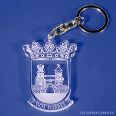 Llavero de metacrilato del escudo de Dos Torres silueteado #ValleDeLosPedroches    http://delospedroches.es/es/metacrilato/186-llavero-metacrilato-escudo-ll113.html