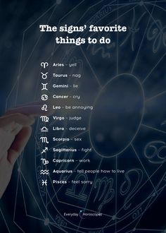 Here are the things that the signs like to do the most. Do you agree? Horoscope Memes, Today Horoscope, Zodiac Signs Sagittarius, Zodiac Sign Traits, Zodiac Signs Horoscope, My Zodiac Sign, Astrology Zodiac, Astrology Signs, Aries Zodiac