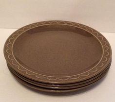 "Set/4 Vintage Sheffield Granada Olive Green Dinner Plates 10"" USA Homer Laughlin  | eBay"