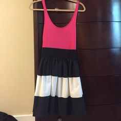 Lulus XS block color dress Lulus pink black and whitish/cream dress. Tag cut out wore for engagement photos. Lulu's Dresses Mini