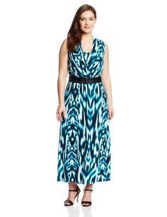 Calvin Klein Women's Plus-Size Maxi Dress with Belt, Lagoon, 24W