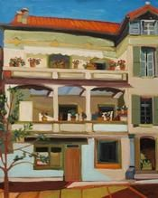 Karen Kulyk - Grand House_ Place d_Eglise_ Ceret Grand House, Cabin, House Styles, Gallery, Places, Artist, Painting, Home Decor, Decoration Home