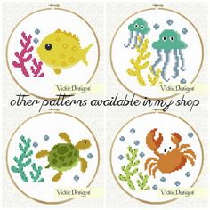 Sea Fish Yellow Seaweed Underwater Animals Cross by VickieDesigns