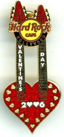 Hard Rock HOLLYWOOD 2006 Valentines Double Neck Guitar Pin LE