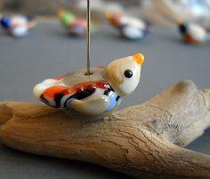 Julie Wong Sontag - handmade glass lampwork bird bead $12.00 #lampwork #beads #uglibeads