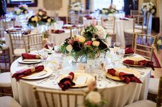A vintage-traditional wedding reception decor with burgundy, gold, ivory and pink | Calgary Lougheed House wedding | Evelyn Clark Weddings