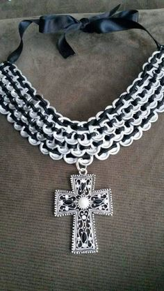 Handmade Pop Tab Bib Necklace with Cross by Streetcycled on Etsy Soda Tab Crafts, Can Tab Crafts, Bottle Cap Crafts, Tape Crafts, Bottle Caps, Pop Can Tabs, Soda Can Art, Soda Tabs, Bottle Jewelry