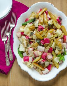 Side Dish Recipe: Roasted Potatoes, Fennel & Radishes with Lemon Brown…