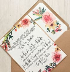 Rustic Floral Save the date Wedding Invitation