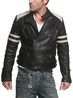"Men's LUCKY 13 - ""MOTO"" Jacket in Distressed Vintage Black Leather"