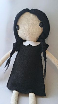 Reserved Wednesday Addams Handmade Art Doll RESERVED