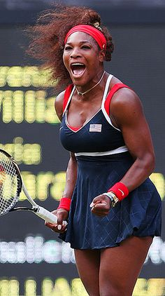 Serena Williams screams in celebration after hitting an ACE on Match Point & thus winning the GOLD Medal Match & her 1st Olympics Singles GOLD Medal. Serena routed French Open Champ & World #3 Maria Sharapova 6-0, 6-1 in 1 hour & 3 minutes. #Brilliant