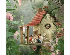 Fairy Print Mounted or unmounted or two Rainy Day Hideaway . Fairy Print Mounted or unmounted or two Fantasy Kunst, Fantasy Art, Funny Bird, Fairy Pictures, Fairytale Art, Beautiful Fairies, Flower Fairies, Fairy Art, Magical Creatures
