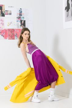 Mid-length slip dress with yellow/cyclamen shock cord straps and hem casing in a vibrant violet viscose satin crepe. The Closet Romantic Slip is reversible with adjustable shock cord straps that run through the neckline. Purple Rain, Mid Length, Romantic, Clothes For Women, Collection, Dresses, Fashion, Outerwear Women, Vestidos