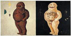 Victor Brauner, Force de concentration de Monsieur K, 1934 Huile sur toile avec incorporation de poupées en celluloïd, végétaux factices en papier avec fil de fer 148,5 x 295 cm