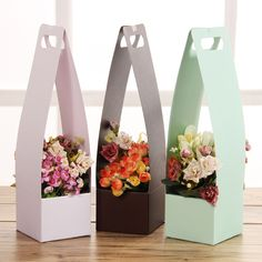 High Flower Girl Bucket Waterproof Floral Wraps Paper Bow With Handle Korean Florist Bouquet Packing Box Decoration cm Flower Packaging, Paper Packaging, Gift Packaging, How To Wrap Flowers, Diy Flowers, Paper Flowers, Paper Bows, Flower Diy, Flower Box Gift