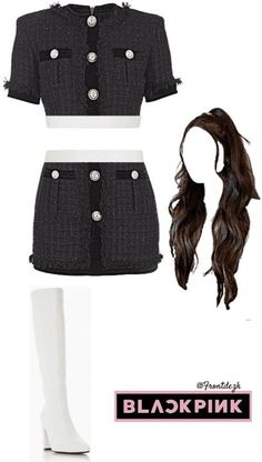 Blackpink Fashion, Kpop Fashion Outfits, Korean Outfits, Concert Outfits, Stage Outfits, Mini Skirts, Crop Tops, Fashion Vocabulary, Model
