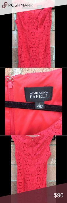 ADRIANNA PAPELL WOMEN DRESS. Never been worn, gorgeous hot pink dress, length is below knee, back has zipper and a slit at the bottom of the dress in the back, perfect dress for any occasion. Adrianna Papell Dresses
