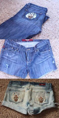 dark wash bleached cutoff shorts |   materials: dark wash denim jeans, scissors, bleach, seam ripper, tweezers