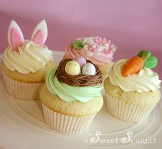 Nest Cupcakes for Easter, an easy way to make a cute dessert! Easter Bunny Cupcakes, Easter Cookies, Easter Treats, Easter Cake, Easter Cupcake Decorations, Easter Food, Cupcake Recipes, Cupcake Cakes, Rodjendanske Torte