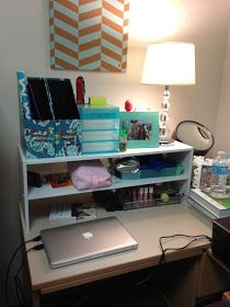 The Damsel In The Dress: College Dorm Organization. I could probably build the shelving on the desk.