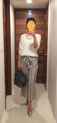 White sweater: Rie Miller, Striped pants: ZARA, Beige bag: Anya Hindmarch, Silver heels: PRADA