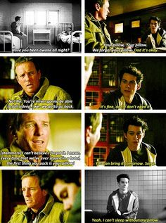 Papa Stilinski clearly making up excuses to not leave his son. & the fact that Stiles has a favorite pillow.