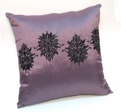 Embroidered Damask pillow