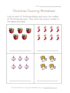 christmas counting practice worksheet