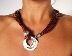 las mujeres de cuero collar collar de eternidad collar por kekugi