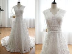 Vintage Inspired Lace Wedding Dress V Neck A LINE Cathedral Train Plus size Wedding Dress Bridal Gown. $319.00, via Etsy.