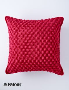 A textured, bobbled pillow is a comfy way to bring vibrant color into any room! Easily crocheted in Patons Canadiana yarn. | Bobble-licious Pillows - Patterns | Yarnspirations | crochet | free pattern