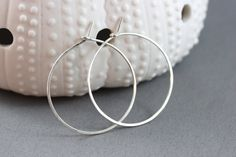 Hand Formed Simple Argentium Sterling Silver Hoop Earrings - Leah, by PrincessTingTing, $16.00