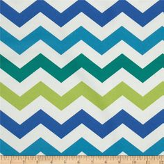Bartow Indoor/Outdoor Chevron Blue/Green from @fabricdotcom  This outdoor fabric is fade resistant up to 500 hours of direct sun exposure. Create decorative toss pillows, chair pads, tabletop and tote bags. To maintain the life of the fabric bring indoors when not in use.