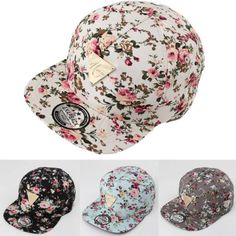 Men-Women-Floral-Flower-Snapback-Hip-Hop-Hat-Flat-Peaked-Adjustable-Baseball-Cap