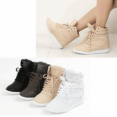 Details about GIRLS KIDS HIGH TOP FASHION WEDGE SNEAKERS BLACK ...