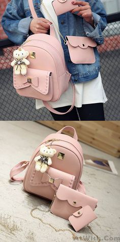 56d7a1fd3b Lovely Bear Pendant PU School Backpacks Gray Pink Splicing Bowknot School  Bag for big sale!