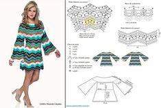 Crochet zig zag dress ♥LCD-MRS️♥️ with diagrams. Zig Zag Crochet, Crochet Skirt Pattern, Crochet Tunic, Crochet Clothes, Crochet Top, Vestido Zig Zag, Zig Zag Dress, Clothing Patterns, Dress Patterns