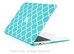 """TopCase Quatrefoil / Moroccan Trellis Hot Blue Ultra Slim Light Weight Rubberized Hard Case Cover for Macbook Air 13"""" Model: A1369 and A1466 by TopCaseUSA on Etsy https://www.etsy.com/listing/213702828/topcase-quatrefoil-moroccan-trellis-hot"""
