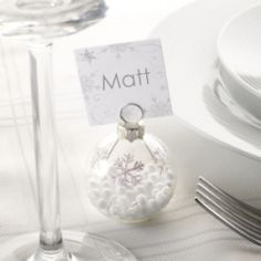 These cute snowflake place name holders contain polystyrene inside to look like snow droplets.  They are the perfect edition to the Christmas table or if you are planning a winter wonderland wedding.  Each pack contains 6 holders and the place cards are sold separately.  £8.99 from the Online Fuschia Boutique at www.fuschiadesigns.co.uk.