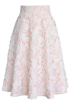 My Dear Roses Lace A-line Midi Skirt in Pink - Skirt - Bottoms - Retro, Indie and Unique Fashion Mode Outfits, Skirt Outfits, Dress Skirt, Lace Skirt, Dress Up, Skirt White, Blush Skirt, Sexy Skirt, Pink Dress