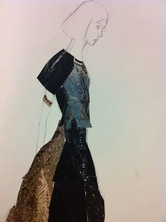 collage fashion illustration  This illustration uses what Looks to be fabric or magazine cut out. Reminds me that collaging is a great way to layer and show depth and that is does not have to be perfect or in line as long as it does not obstruct or distract in the wrong way.