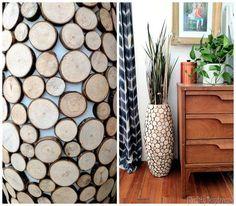 Wood Round Covered Floor Vase