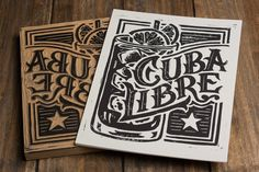 """Cuba Libre - Block Print - - Newest addition to the Classic Cocktail. You may not think of this as a """"Cocktail"""" but the Cuba Libre does have a long history and is one of the most popular cocktails in world. Check it out at my. Blog Design Inspiration, Design Blog, Typography Inspiration, Design Styles, Woodblock Print, Classic Cocktails, Popular Cocktails, How To Write Calligraphy, Weird Words"""