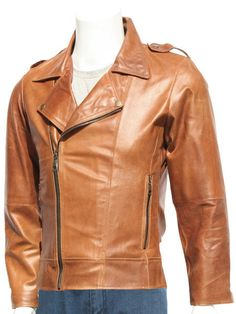 """Presenting the Superior Men's Tan Leather Distressed Jacket, crafted with high-quality Nappa leather that has been especially touched to make a perfect distressed leather wear for special occasions. The tan color of the jacket is going to add dazzling sparkle to your skin tone, wear it with bright colors in contrast and become visually more flattering in any season. The exclusive design of the tan leather jacket features a slightly slanted YKK branded front zipper closure, zipper waist…"