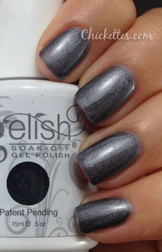 Gelish Midnight Caller Color Swatch from chickettes.com. Gelish polish is available at www.esthersnc.com